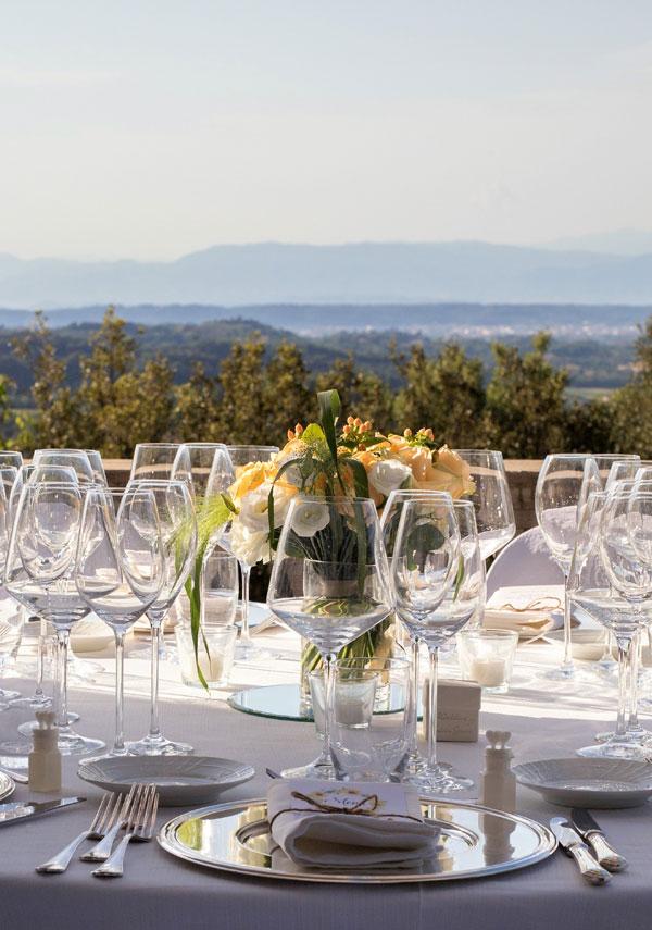 terrazza panoramica per eventi in villa toscana
